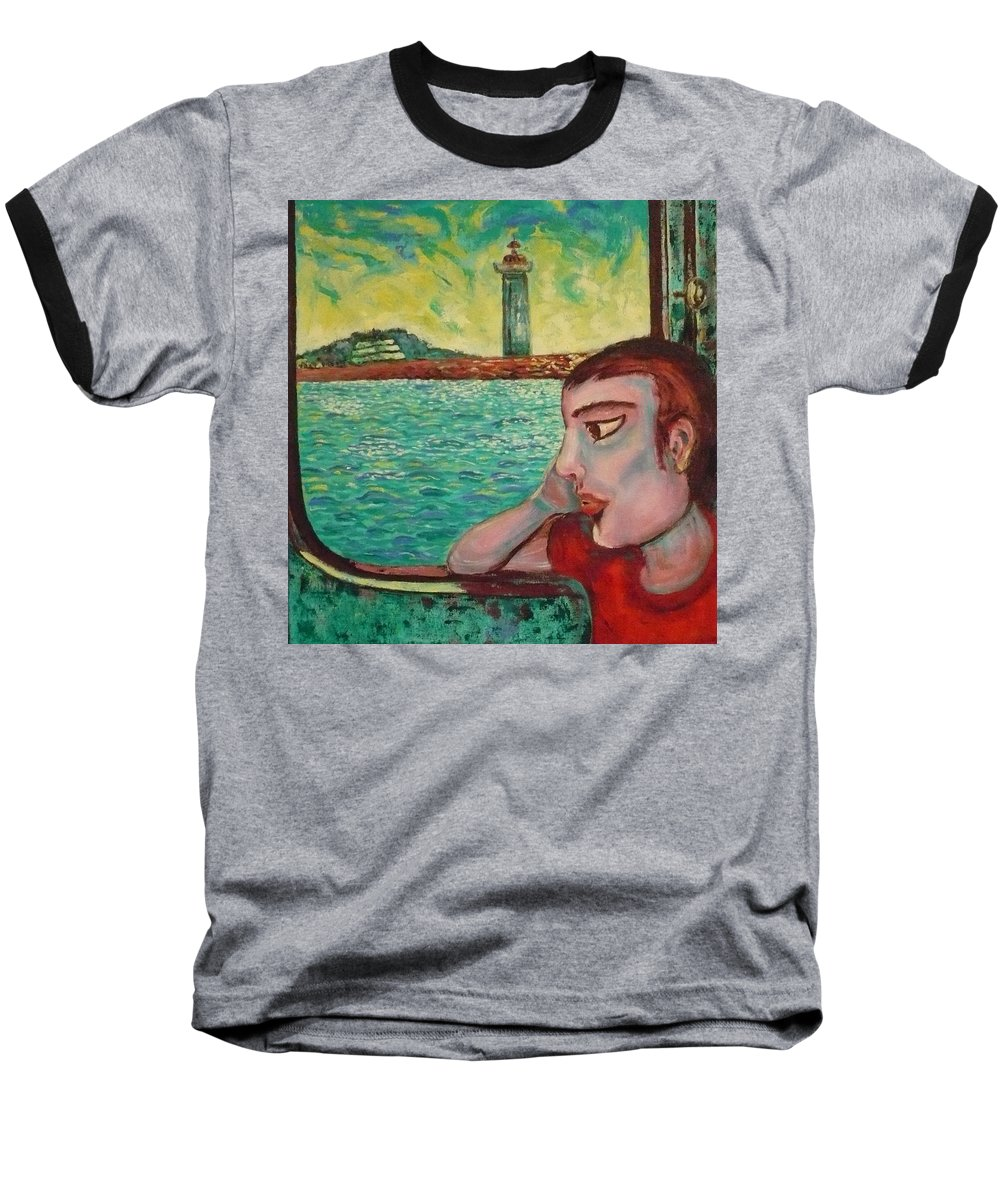 Window Baseball T-Shirt featuring the painting Young Man In A Window by Ericka Herazo