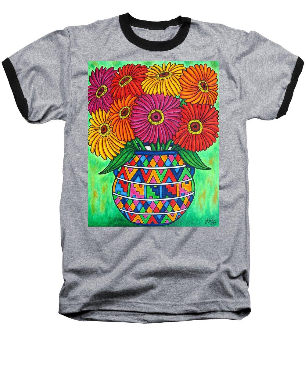 Zinnia Baseball T-Shirt featuring the painting Zinnia Fiesta by Lisa Lorenz