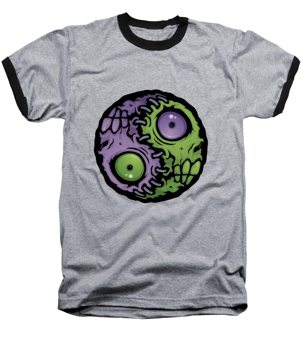 Zombie Baseball T-Shirt featuring the digital art Zombie Yin-yang by John Schwegel