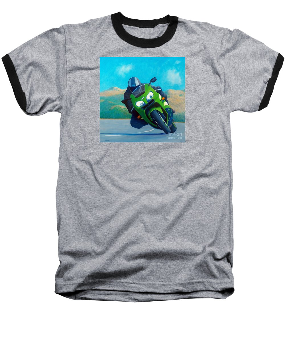 Motorcycle Baseball T-Shirt featuring the painting Zx9 - California Dreaming by Brian Commerford