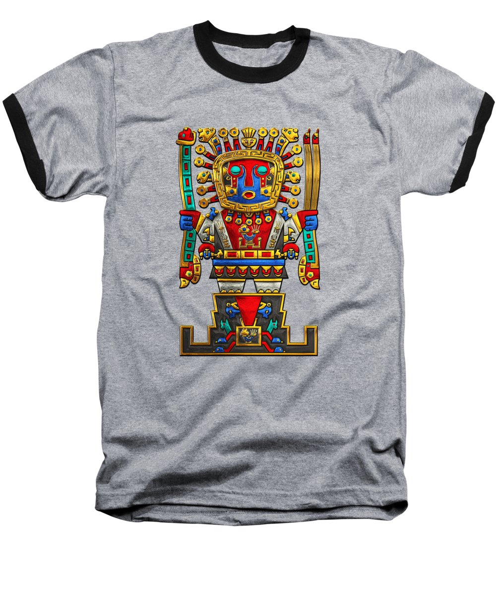'treasures Of Pre-columbian America' Collection By Serge Averbukh Baseball T-Shirt featuring the photograph Incan Gods - The Great Creator Viracocha On Black Canvas 1 by Serge Averbukh