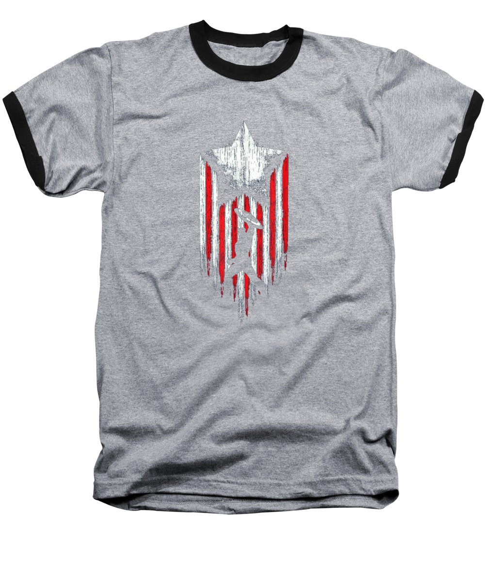 girls' Novelty Clothing Baseball T-Shirt featuring the digital art America Star Flag Super Heroes Costume Team Up Starr Flag T-shirt by Unique Tees