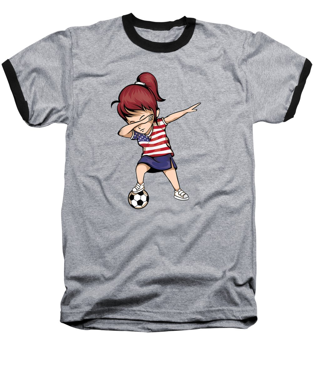 women's Novelty T-shirts Baseball T-Shirt featuring the digital art Dabbing Soccer Girl United States Jersey Shirt Usa Football by Unique Tees