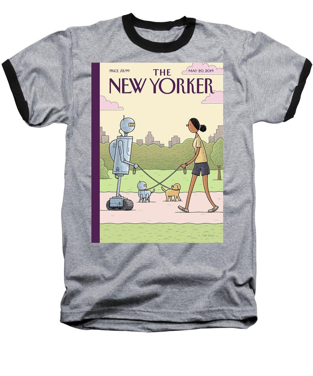 Dog Walking 2.0 Baseball T-Shirt featuring the painting Dog Walking 2.0 by Tom Gauld