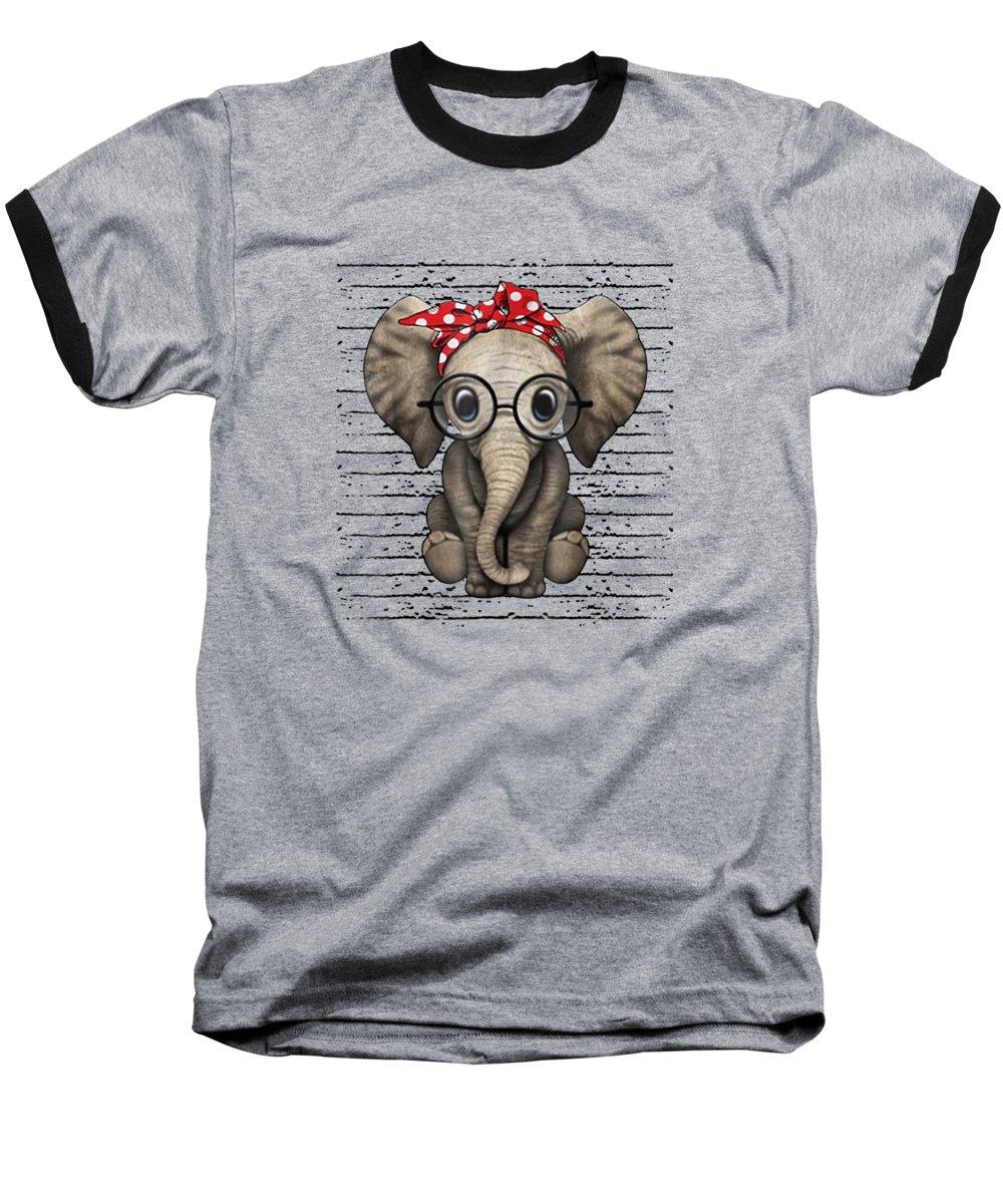 girls' Novelty Clothing Baseball T-Shirt featuring the digital art Elephants With Bandana Headband And Glasses Cute T-shirt by Unique Tees