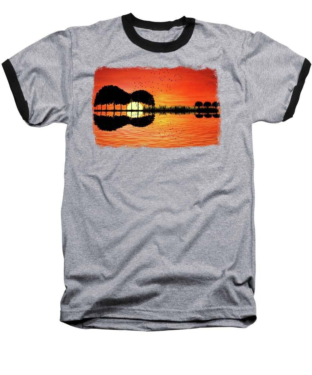 Guitar Baseball T-Shirt featuring the digital art Guitar Island Sunset by Psycho Shadow