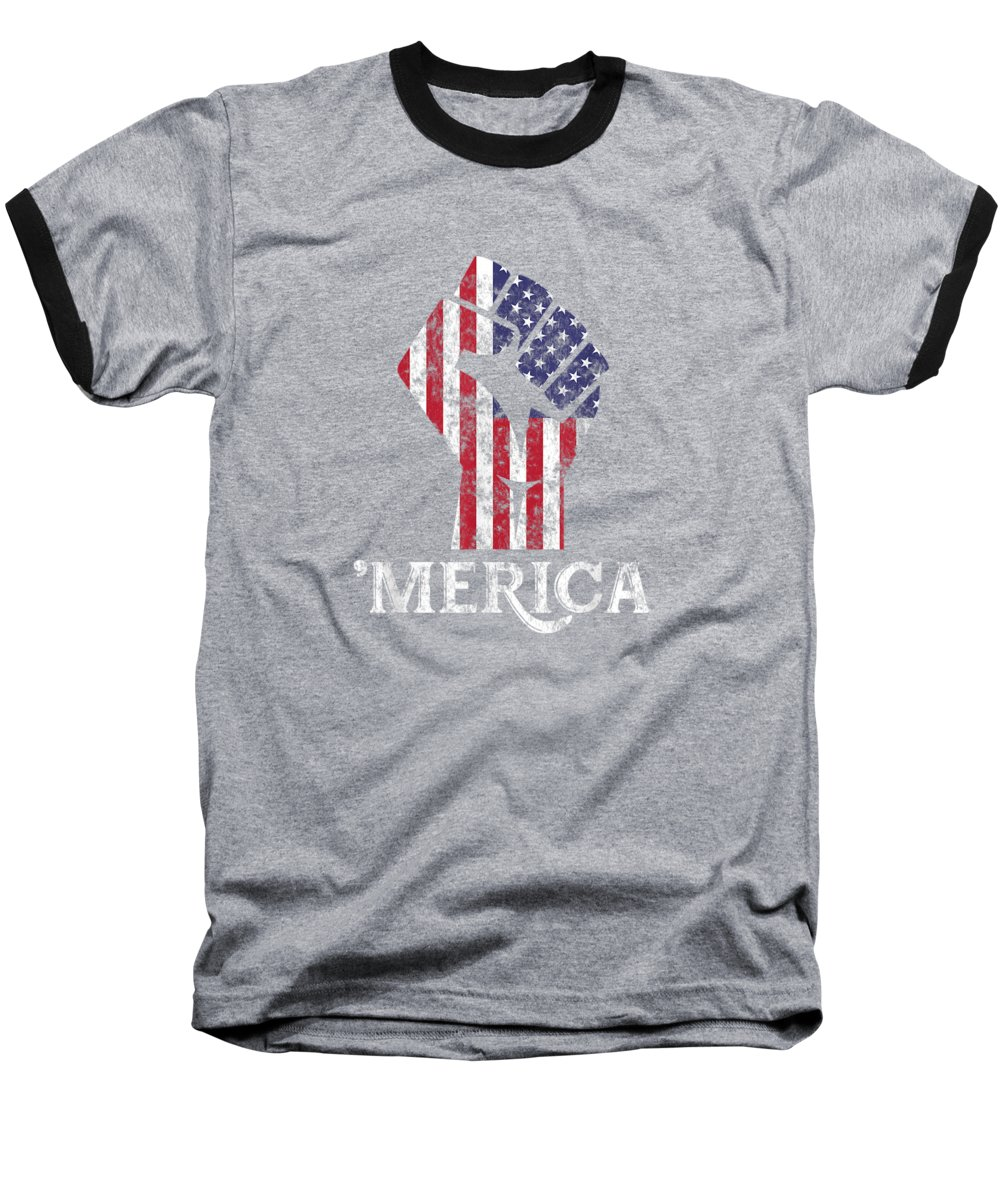 girls' Novelty T-shirts Baseball T-Shirt featuring the digital art Merica American Flag Shirt- 4th July Independence Day Tshirt by Unique Tees