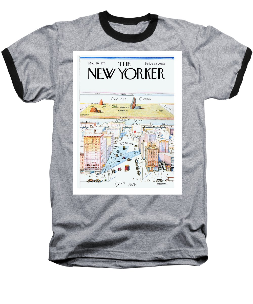 #condenastnewyorkercover Baseball T-Shirt featuring the painting New Yorker March 29, 1976 by Saul Steinberg