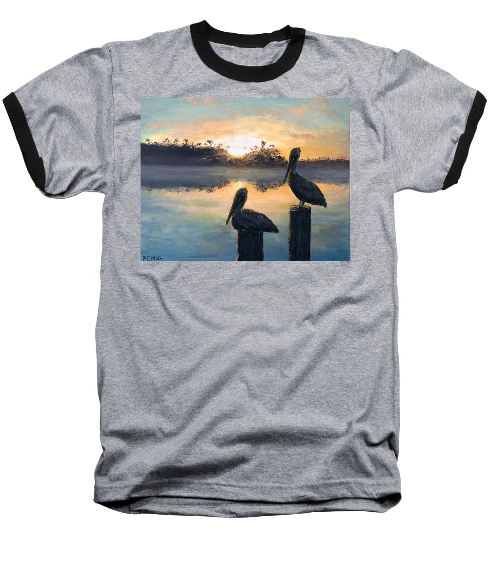 Pelican Baseball T-Shirt featuring the painting Pelican Sunrise by Paul Emig