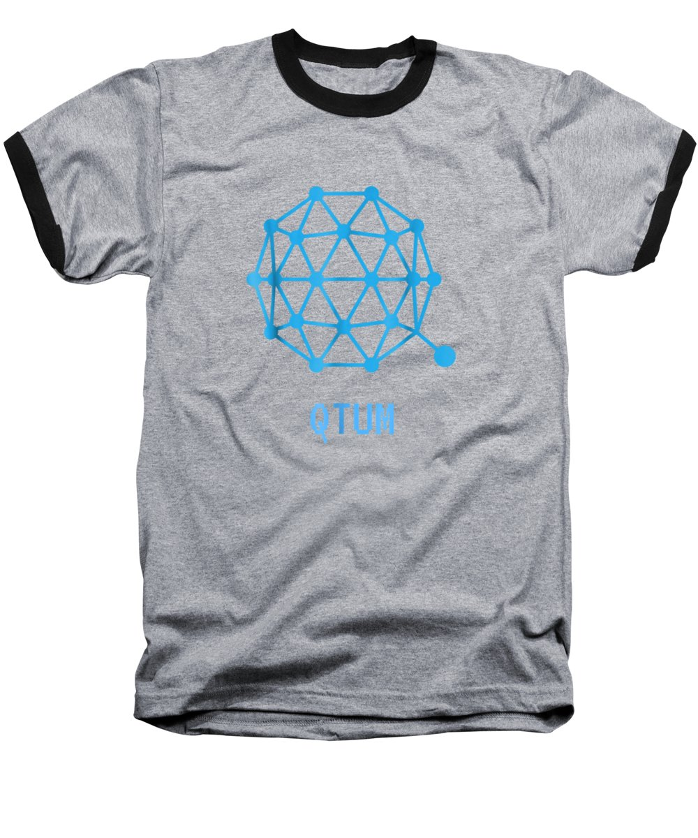 men's Novelty T-shirts Baseball T-Shirt featuring the digital art Qtum Cryptocurrency Crypto Tee Shirt by Unique Tees