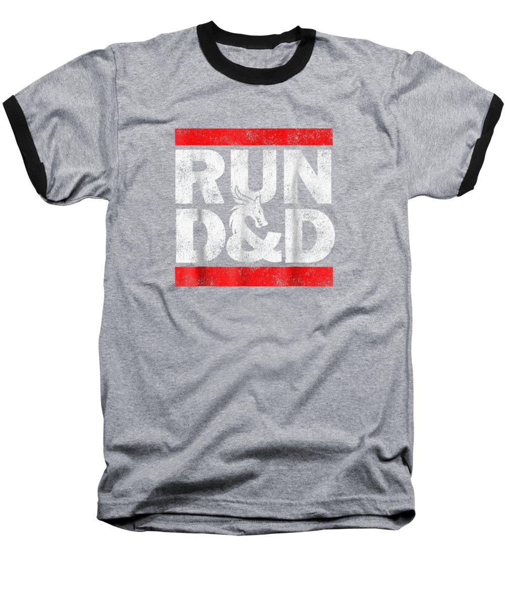 women's Fashion Baseball T-Shirt featuring the digital art Run Dnd Dungeon Game Tabletop Rpg Shirt by Unique Tees