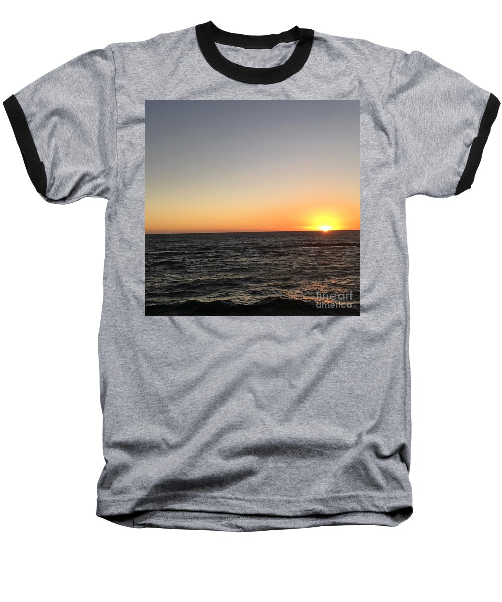 Sunset Baseball T-Shirt featuring the photograph Sunset At The Sea by Epic Luis Art