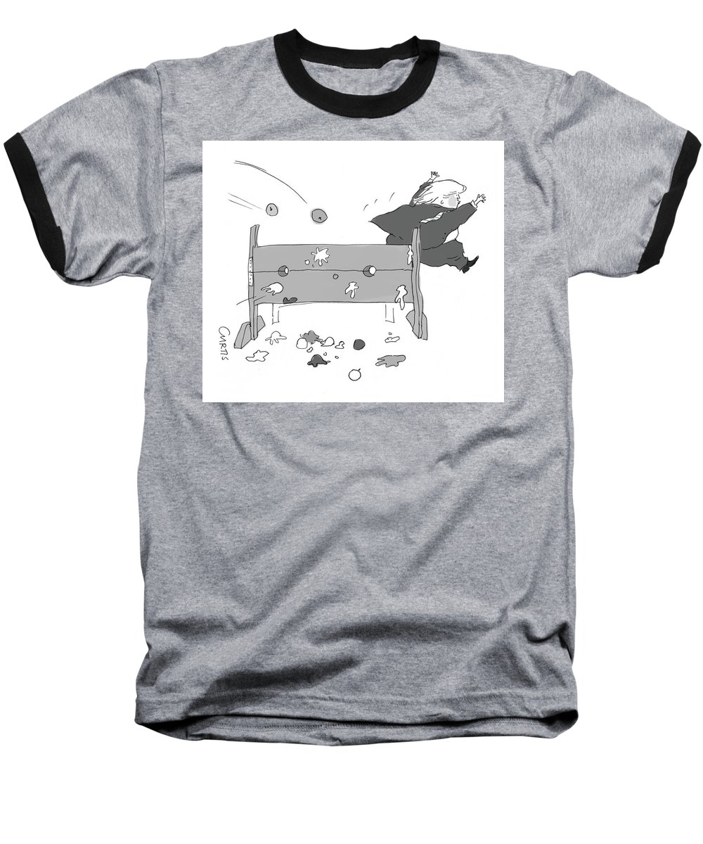 Captionless Baseball T-Shirt featuring the drawing Trump Fleeing by Kate Curtis