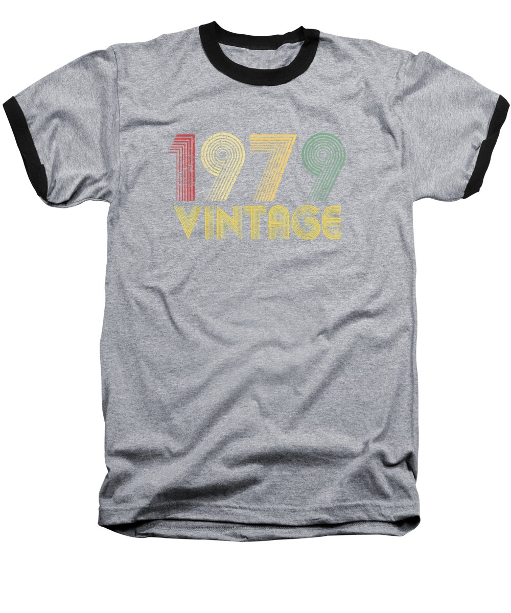 men's Novelty T-shirts Baseball T-Shirt featuring the photograph Vintage 1979 40th Birthday Gift 40 Years Old Funny T-shirt by Unique Tees