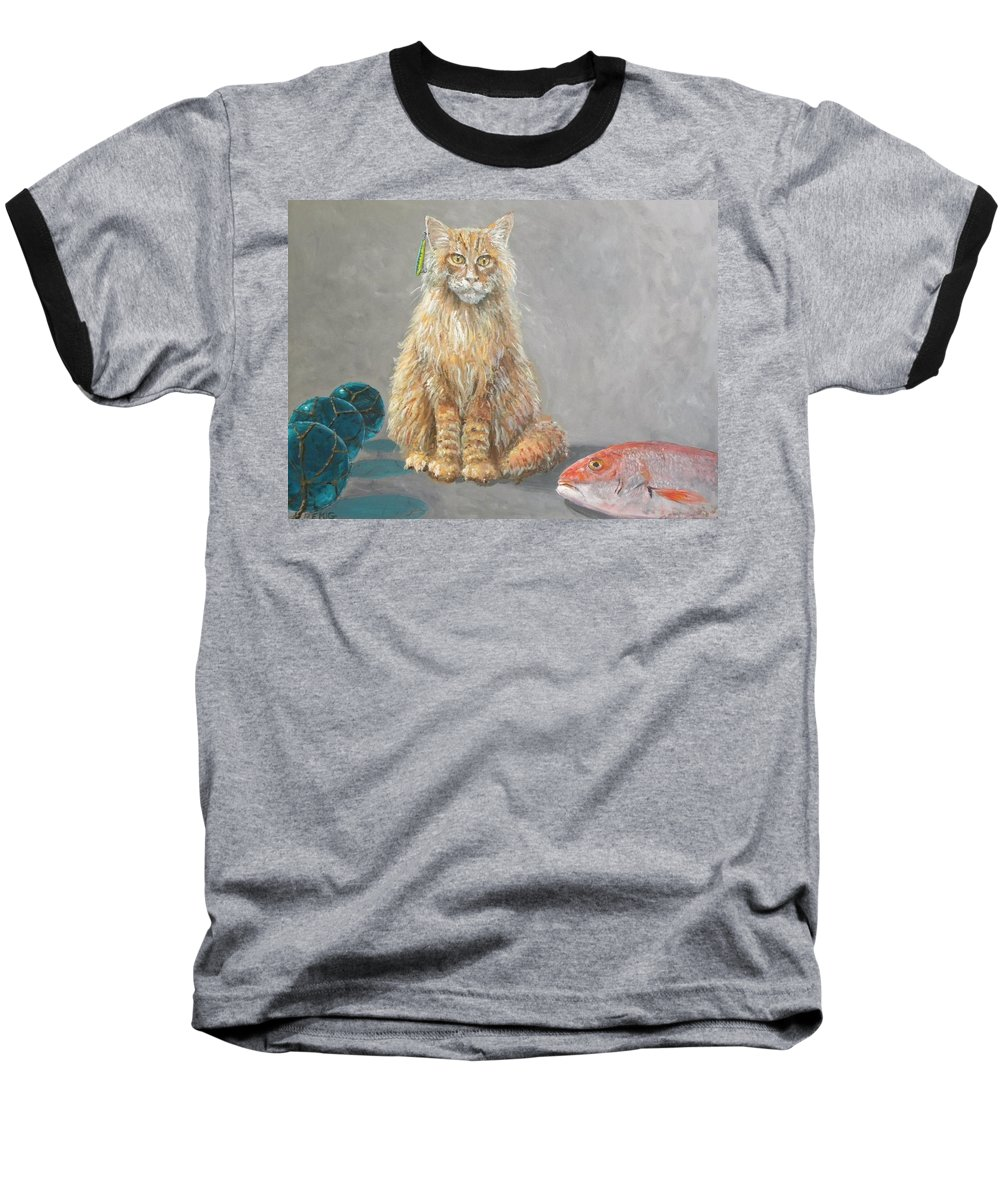 Cat Baseball T-Shirt featuring the painting 'old Salt' The Fisher Cat by Paul Emig