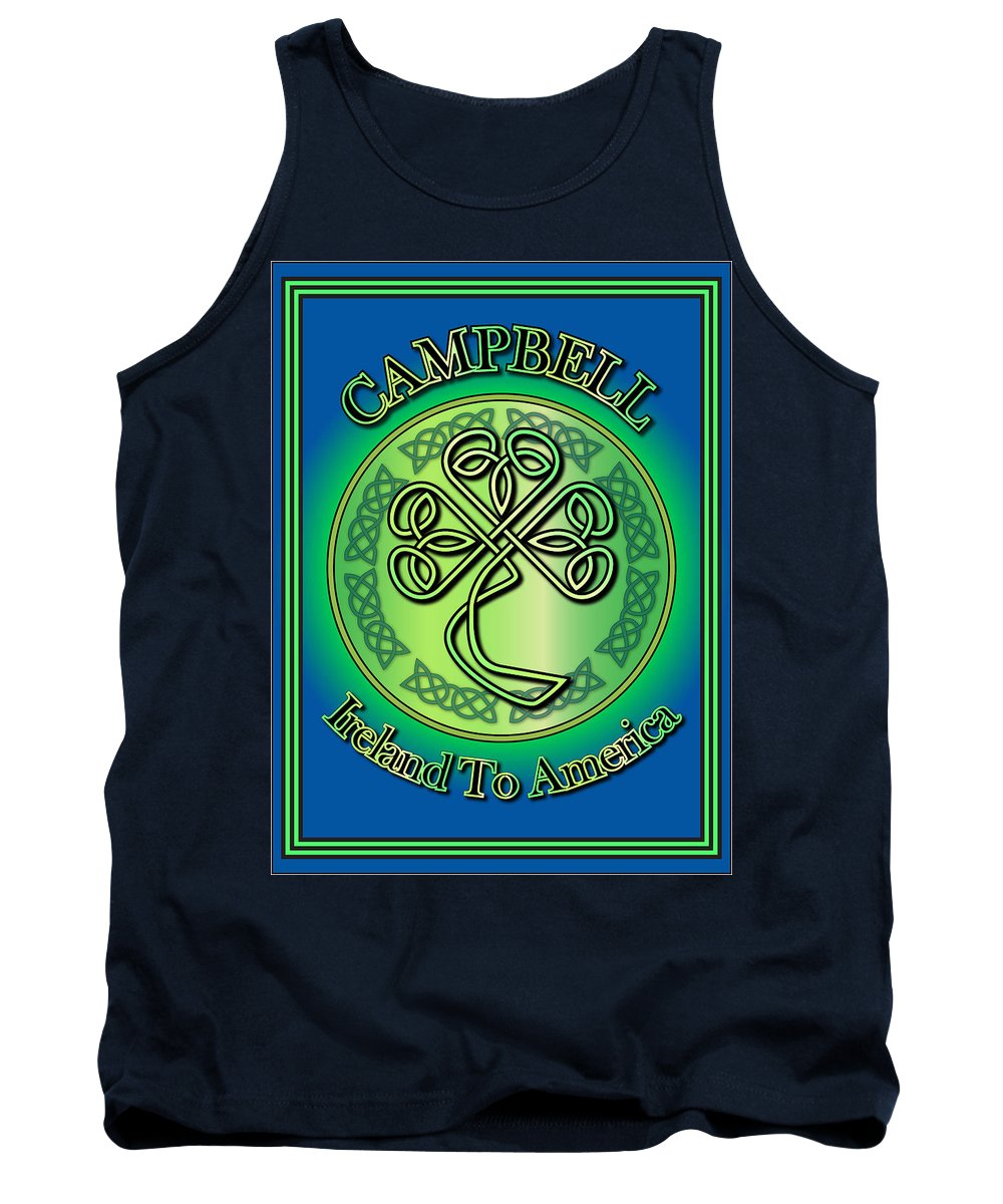 Campbell Tank Top featuring the digital art Campbell Ireland To America by Ireland Calling