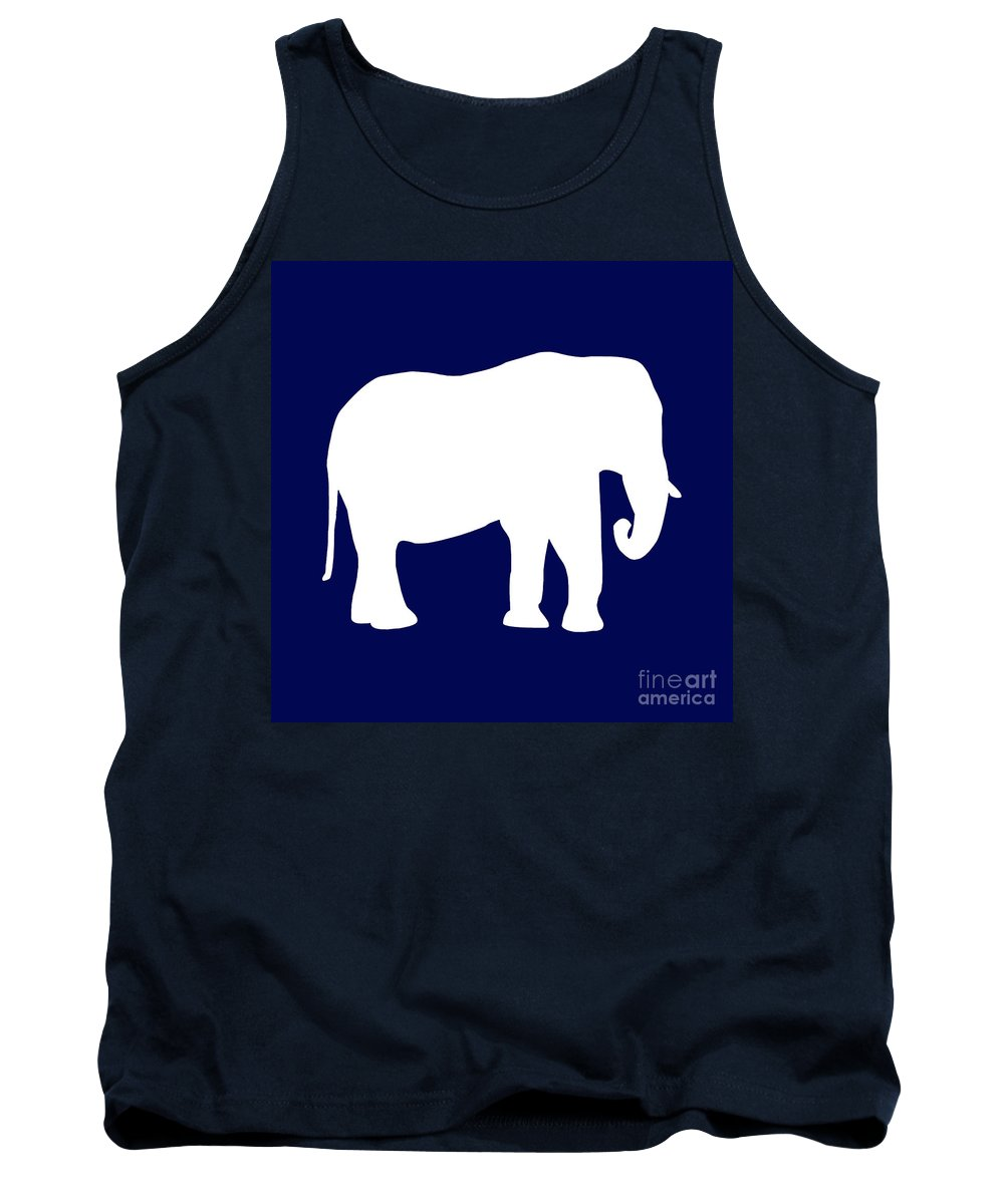 Graphic Art Tank Top featuring the digital art Elephant In Navy And White by Jackie Farnsworth