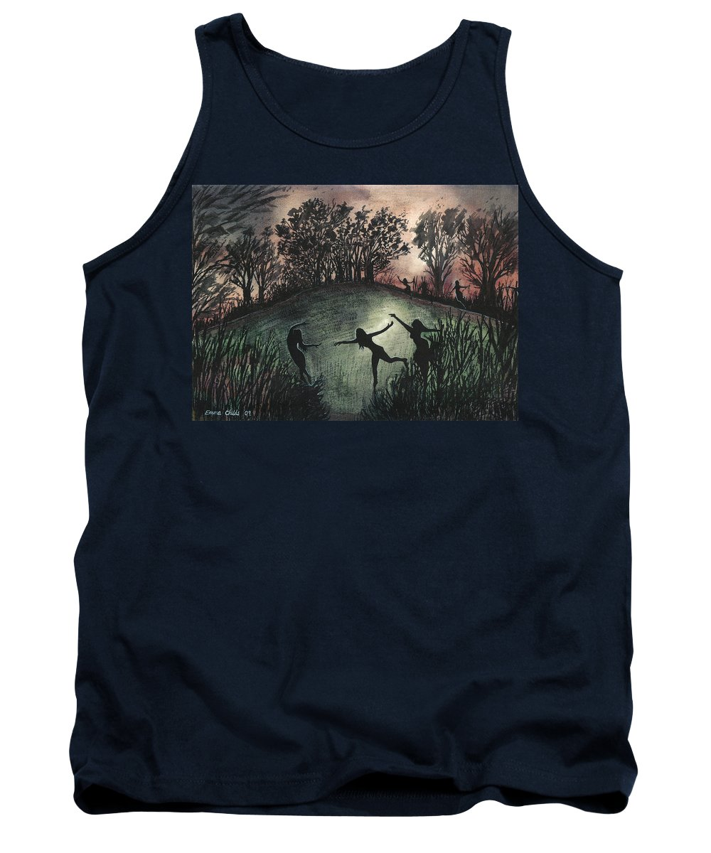 Sacred Tank Top featuring the painting Moonlight Dance by Emma Childs