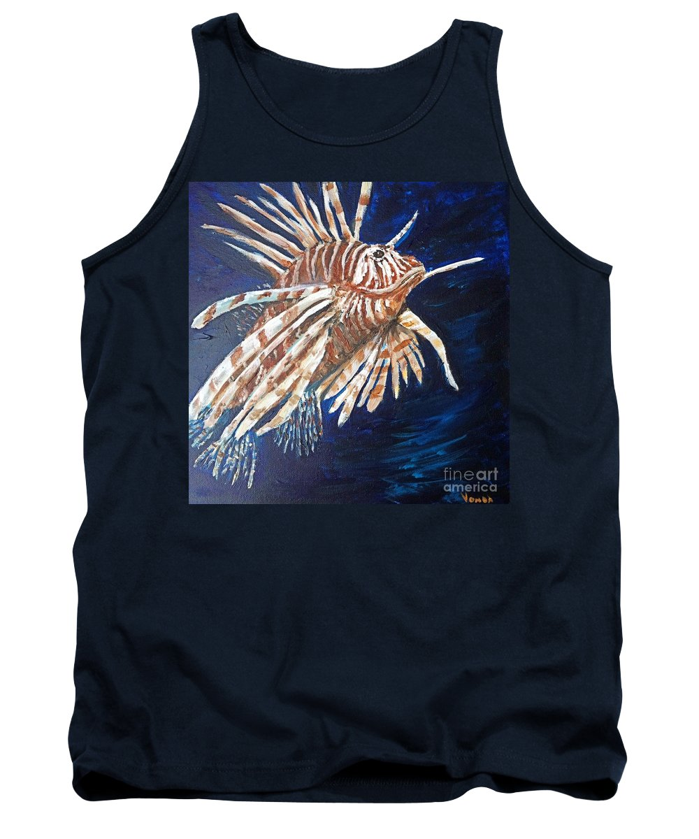 Lionfish Tank Top featuring the painting On The Prowl by Vonda Lawson-Rosa