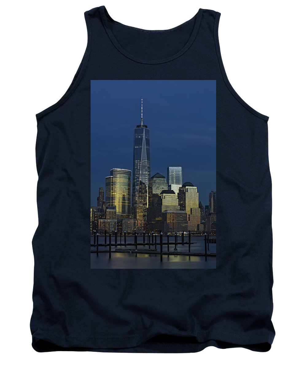 World Trade Center Tank Top featuring the photograph One World Trade Center At Twilight by Susan Candelario