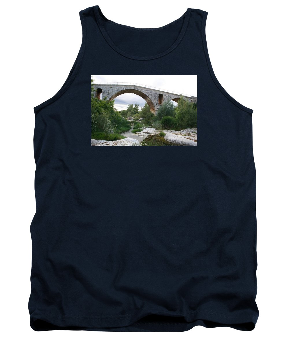 Roman Stonebridge Tank Top featuring the photograph Roman Arch Bridge Pont St. Julien by Christiane Schulze Art And Photography