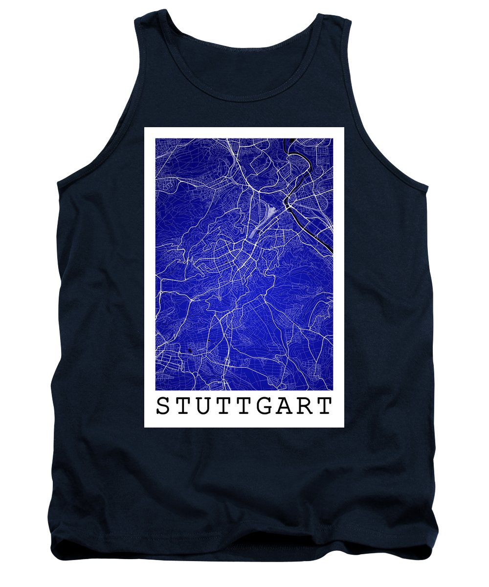 Road Map Tank Top featuring the digital art Stuttgart Street Map - Stuttgart Germany Road Map Art On Colored by Jurq Studio