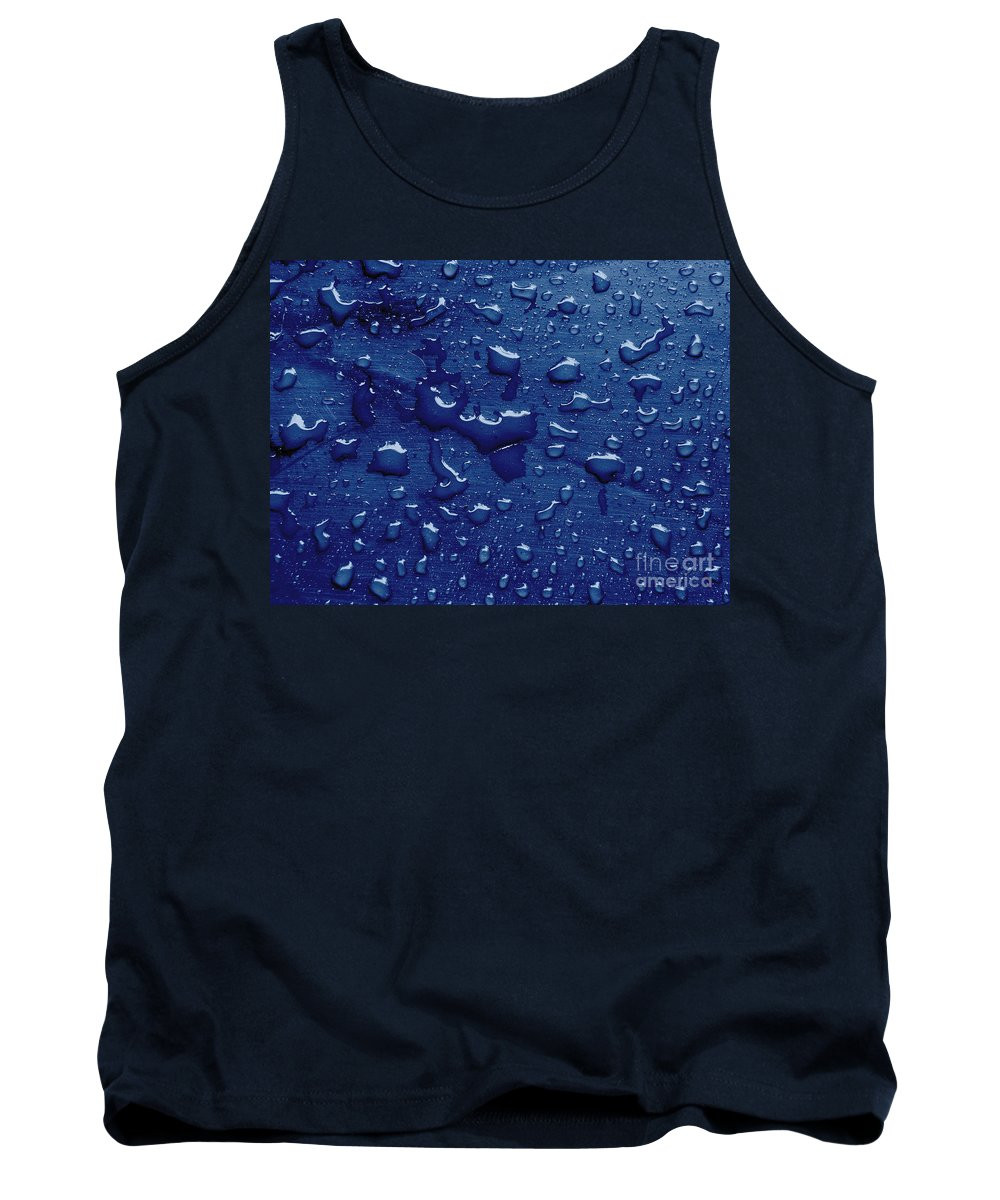 Abstract Tank Top featuring the photograph Water Drops On Metallic Surface by Dan Radi