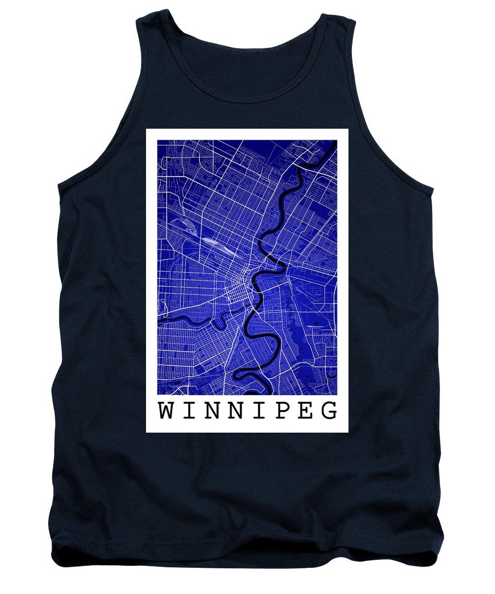 Road Map Tank Top featuring the digital art Winnipeg Street Map - Winnipeg Canada Road Map Art On Colored Ba by Jurq Studio