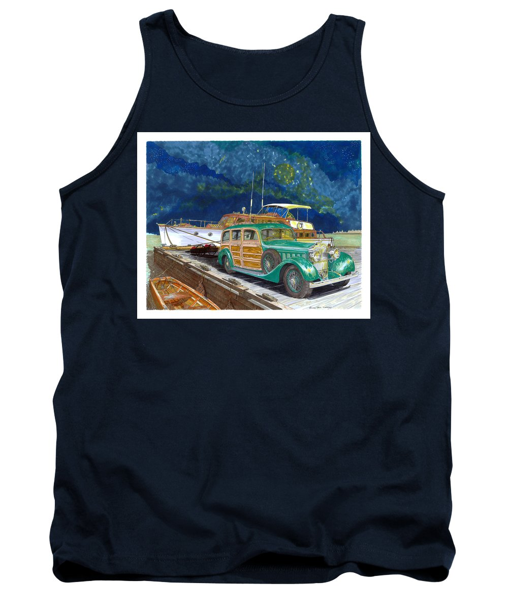Classic Car Art Tank Top featuring the painting 1936 Hispano Suiza Shooting Brake by Jack Pumphrey