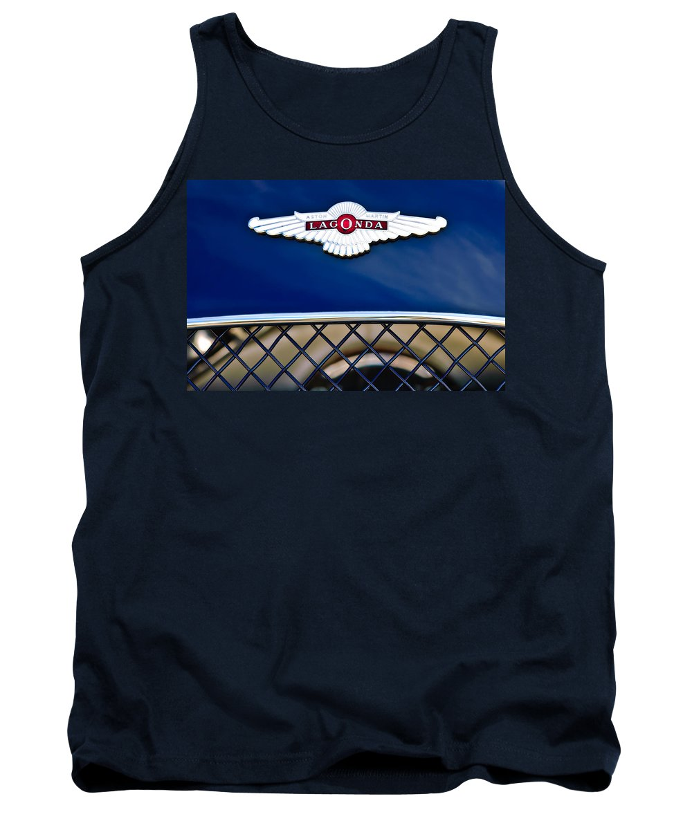 Lagonda Tank Top featuring the photograph 1959 Aston Martin Jaguar C-type Roadster Hood Emblem by Jill Reger