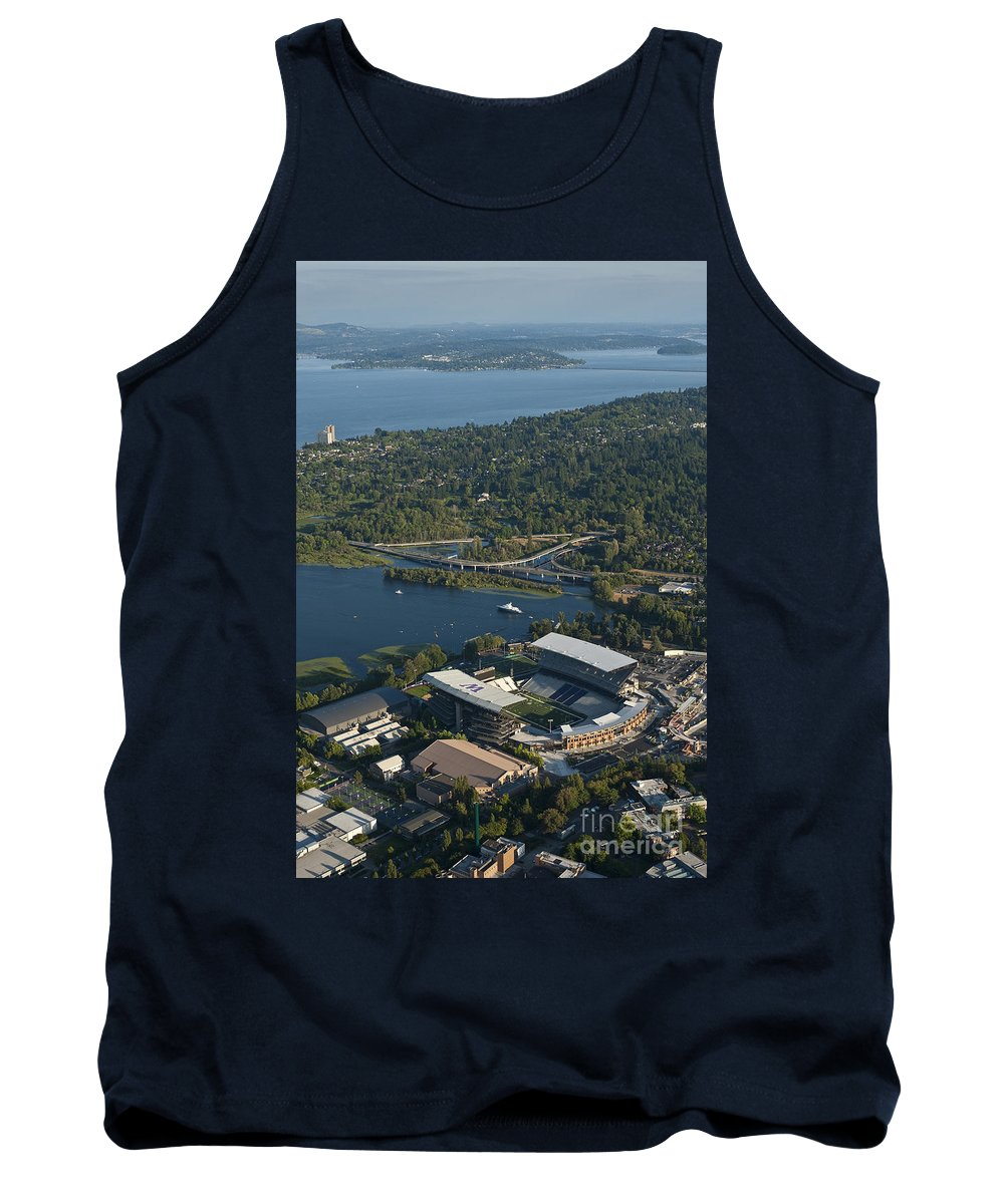 Husky Stadium Tank Top featuring the photograph Aerial View Of The New Husky Stadium by Jim Corwin