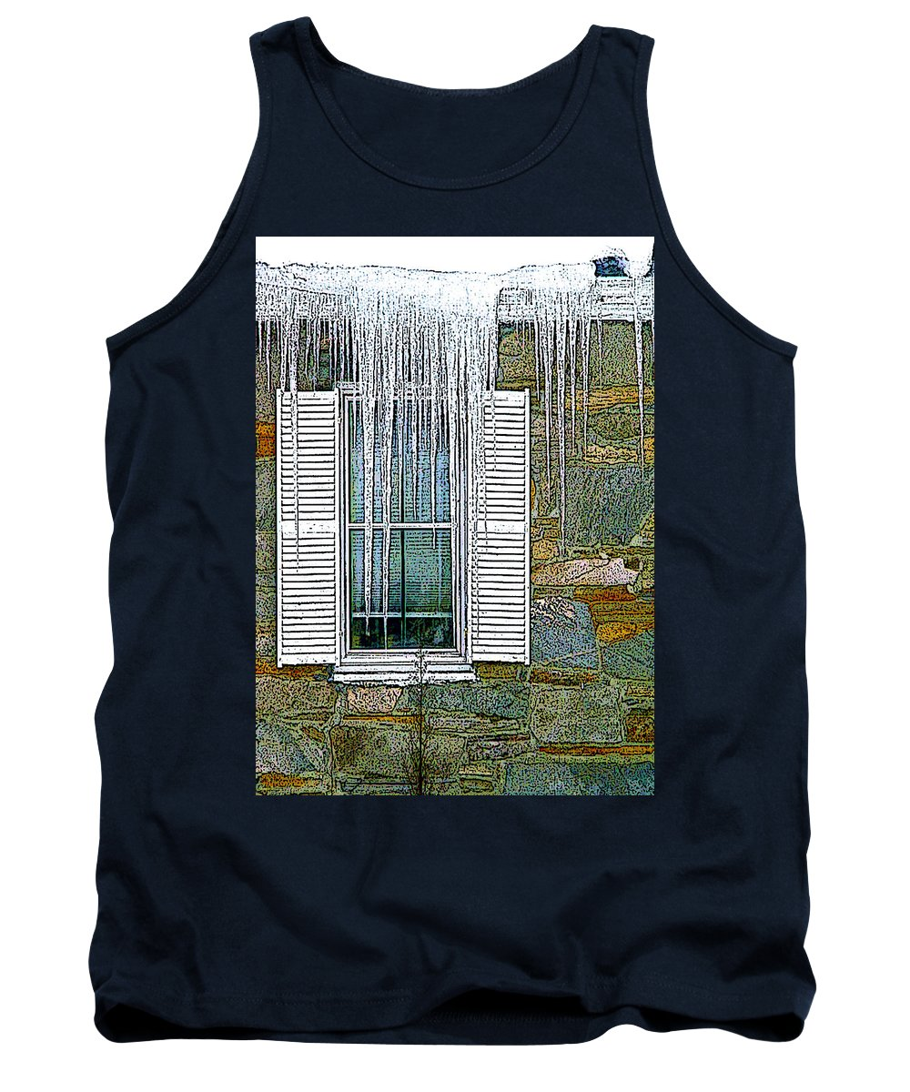 Window Tank Top featuring the digital art Ice By The Window by Nancy Griswold