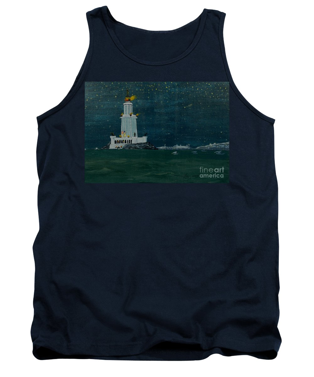 Pharos Tank Top featuring the painting Pharos Lighthouse by Anthony Dunphy