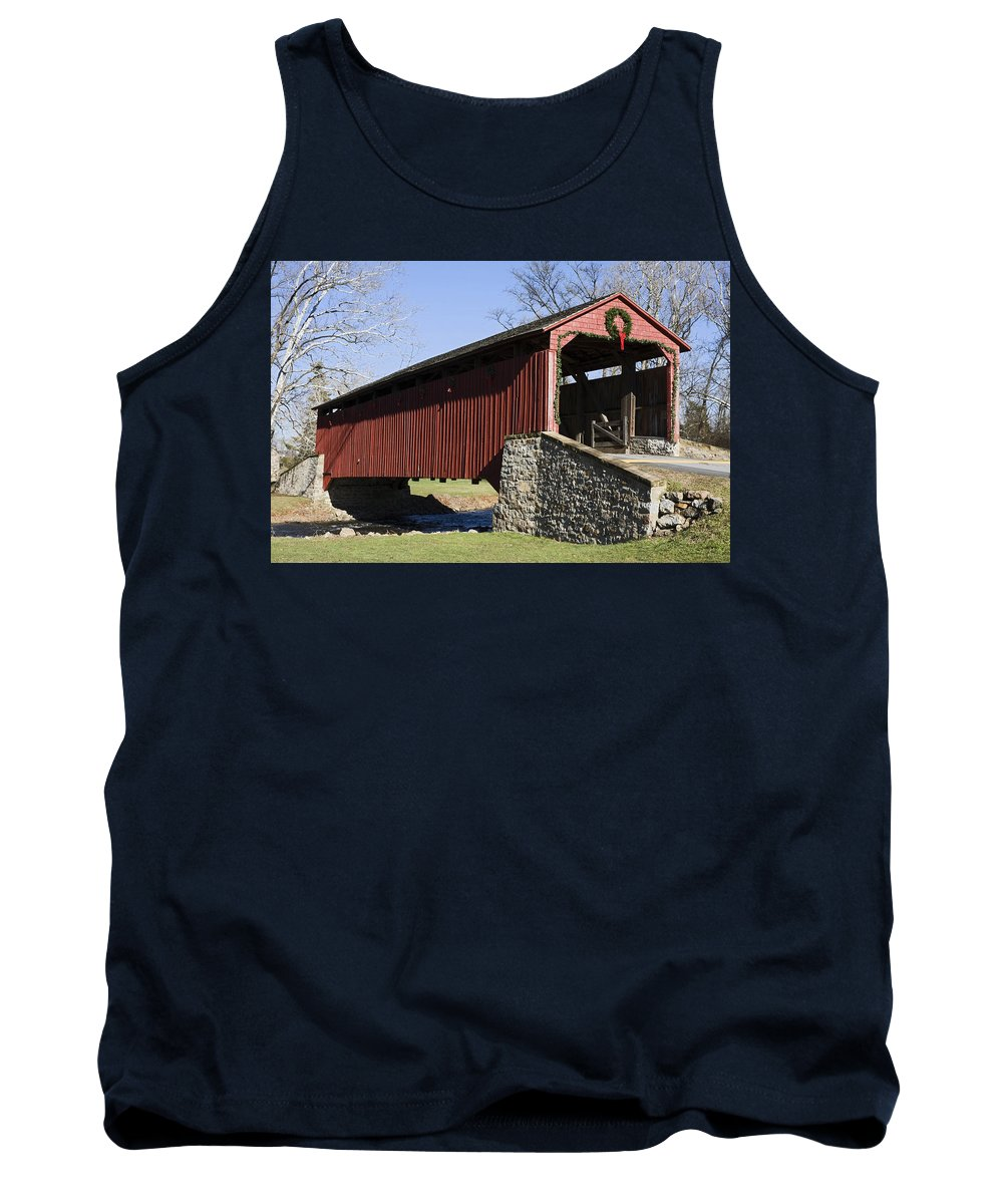 Poole Forge Covered Bridge Tank Top featuring the photograph Poole Forge Covered Bridge by Sally Weigand