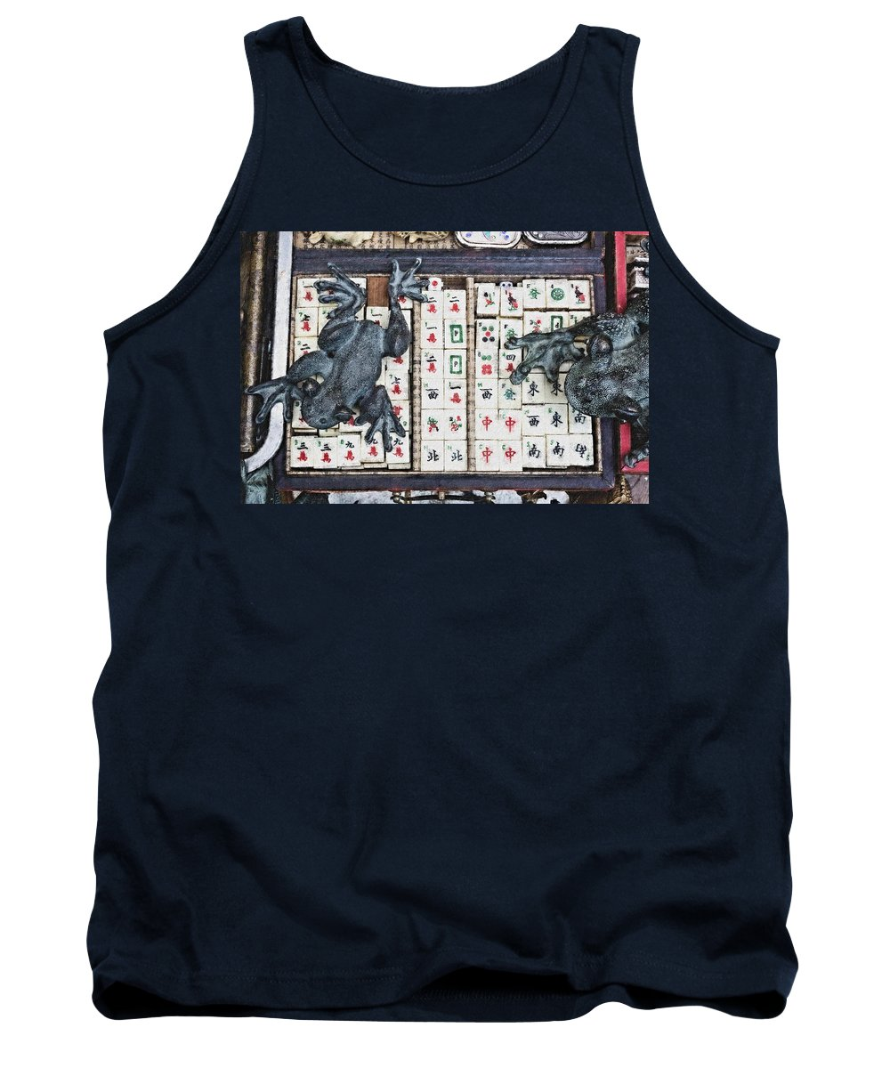Mahjong Tiles Tank Top featuring the digital art 3446-pastel Chalk 2hp by David Lange