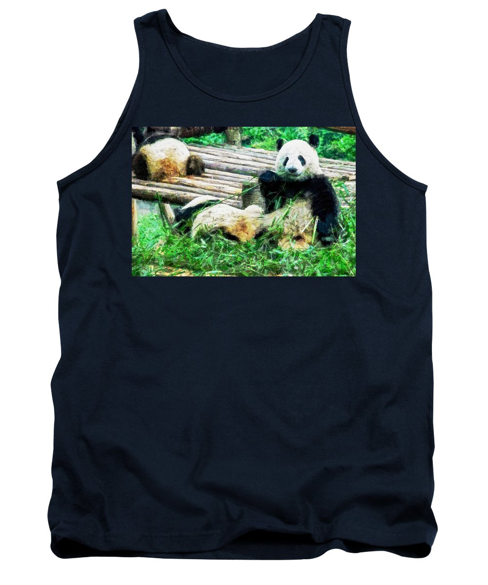 Asia Tank Top featuring the digital art 3722-panda - Oil Stain Sl by David Lange