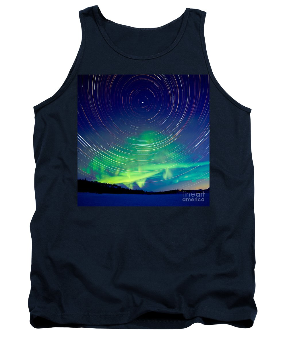 Astrophoto Tank Top featuring the photograph Star Trails And Northern Lights In Night Sky by Stephan Pietzko