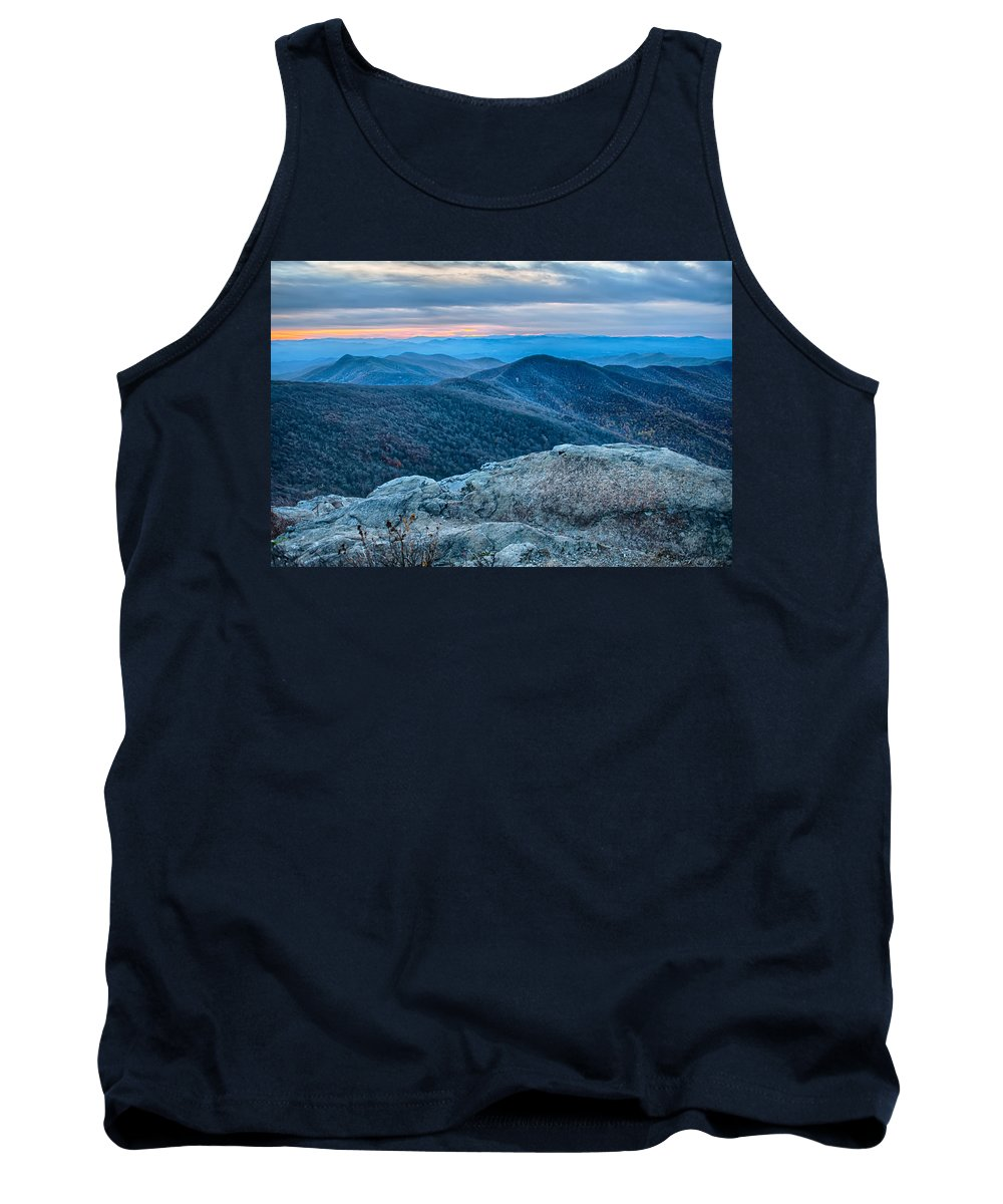 Blue Tank Top featuring the photograph Sunset View Over Blue Ridge Mountains by Alex Grichenko