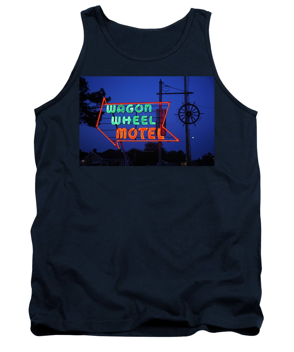 66 Tank Top featuring the photograph Route 66 - Wagon Wheel Motel by Frank Romeo