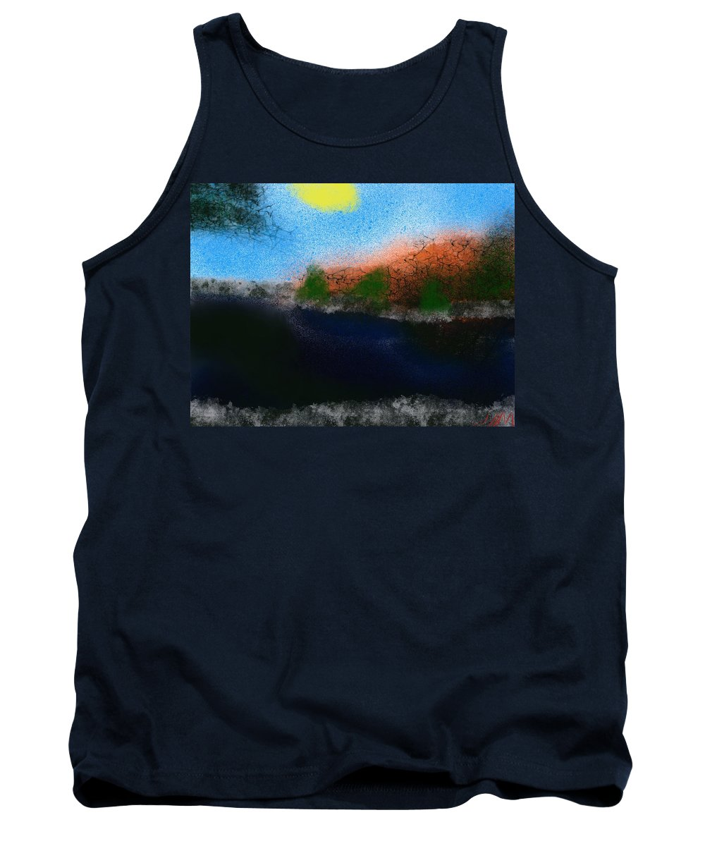 Lake Tank Top featuring the painting A Day At The Lake by Bill Minkowitz