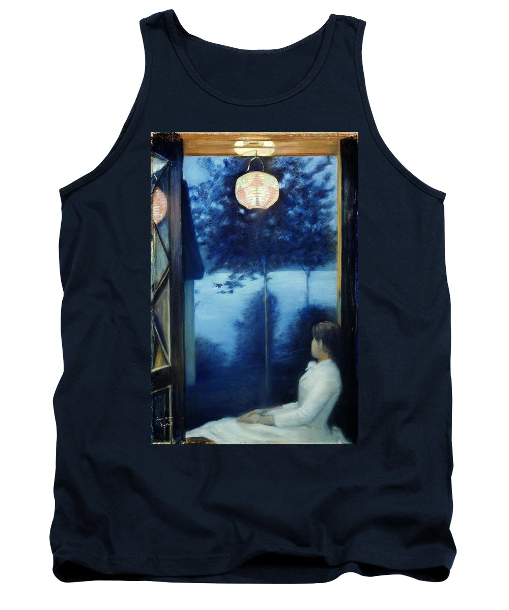 Oda Krohg Tank Top featuring the painting A Japanese Lantern by Oda Krohg