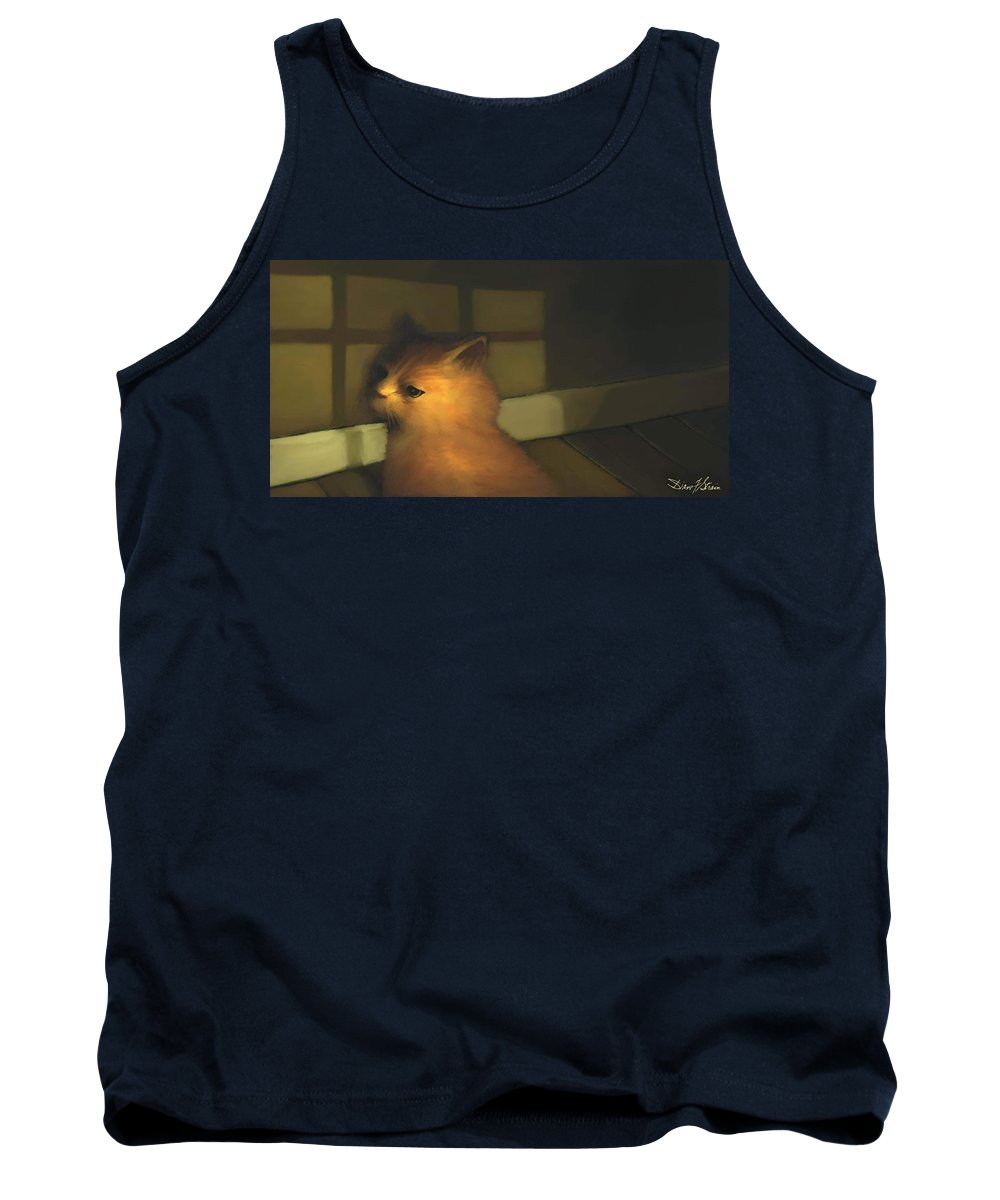Diane Strain Tank Top featuring the painting A Warm Corner For Kitty  No.2 by Diane Strain