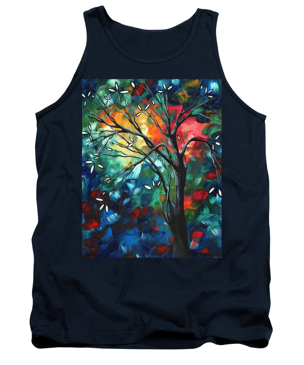 Abstract Tank Top featuring the painting Abstract Art Original Colorful Painting Spring Blossoms By Madart by Megan Duncanson
