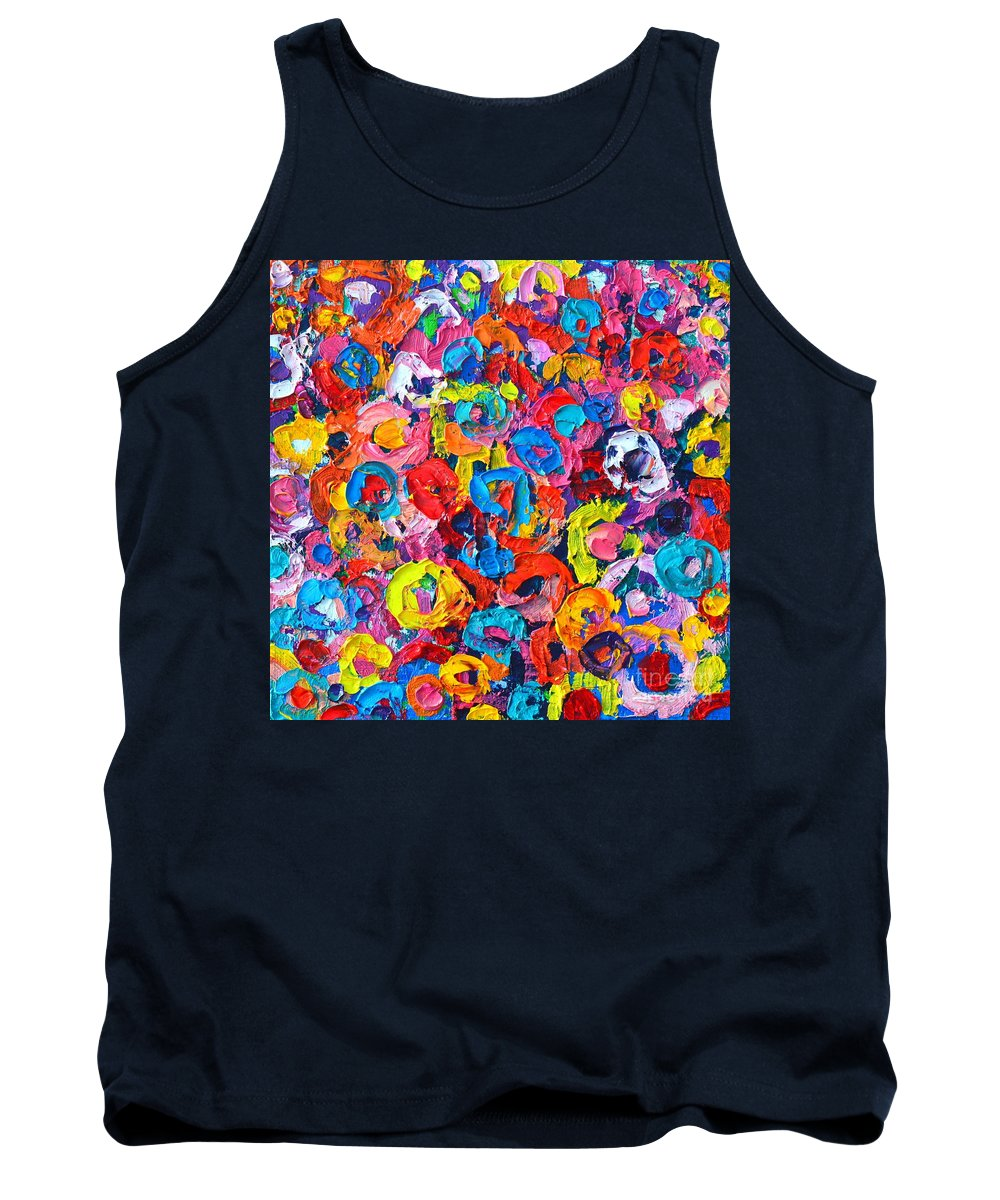 Abstract Tank Top featuring the painting Abstract Colorful Flowers 3 - Paint Joy Series by Ana Maria Edulescu