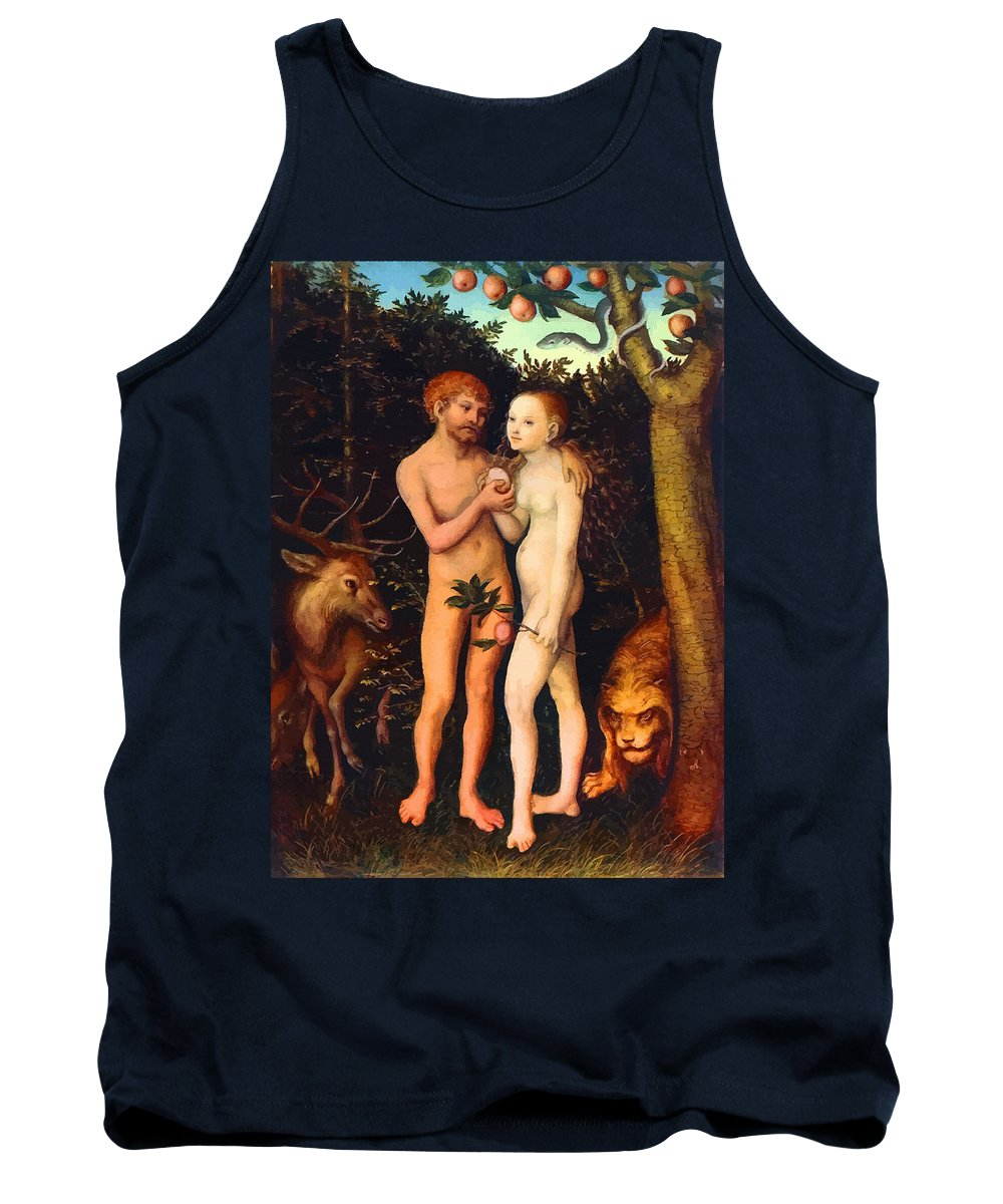 Retouched Tank Top featuring the digital art Adam And Eve - Oil On Canvas by Don Kuing