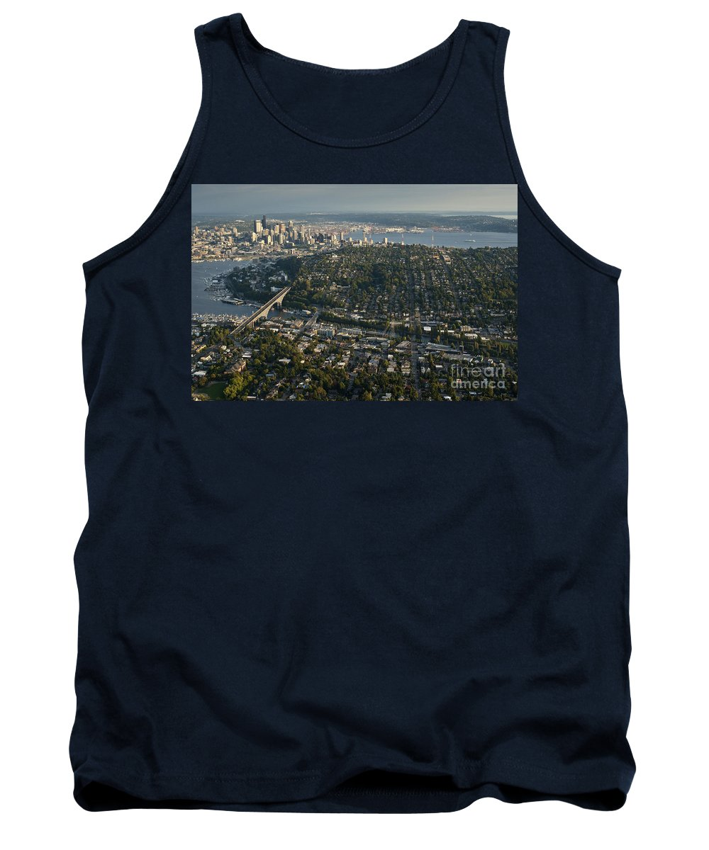 Elliott Bay Tank Top featuring the photograph Aerial View Of Seattle by Jim Corwin