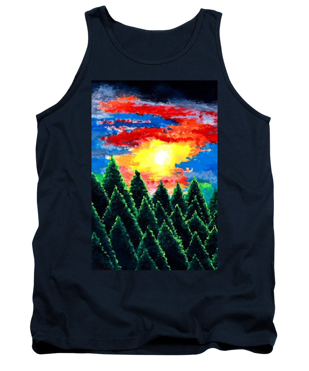 Landscape Tank Top featuring the painting After The Rain by Thomas Gronowski