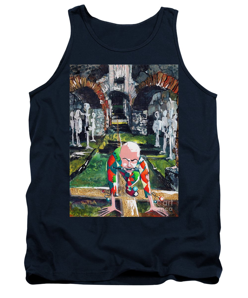 Deep Tank Top featuring the painting Almost Safe Among The Fittest by Elisabeta Hermann