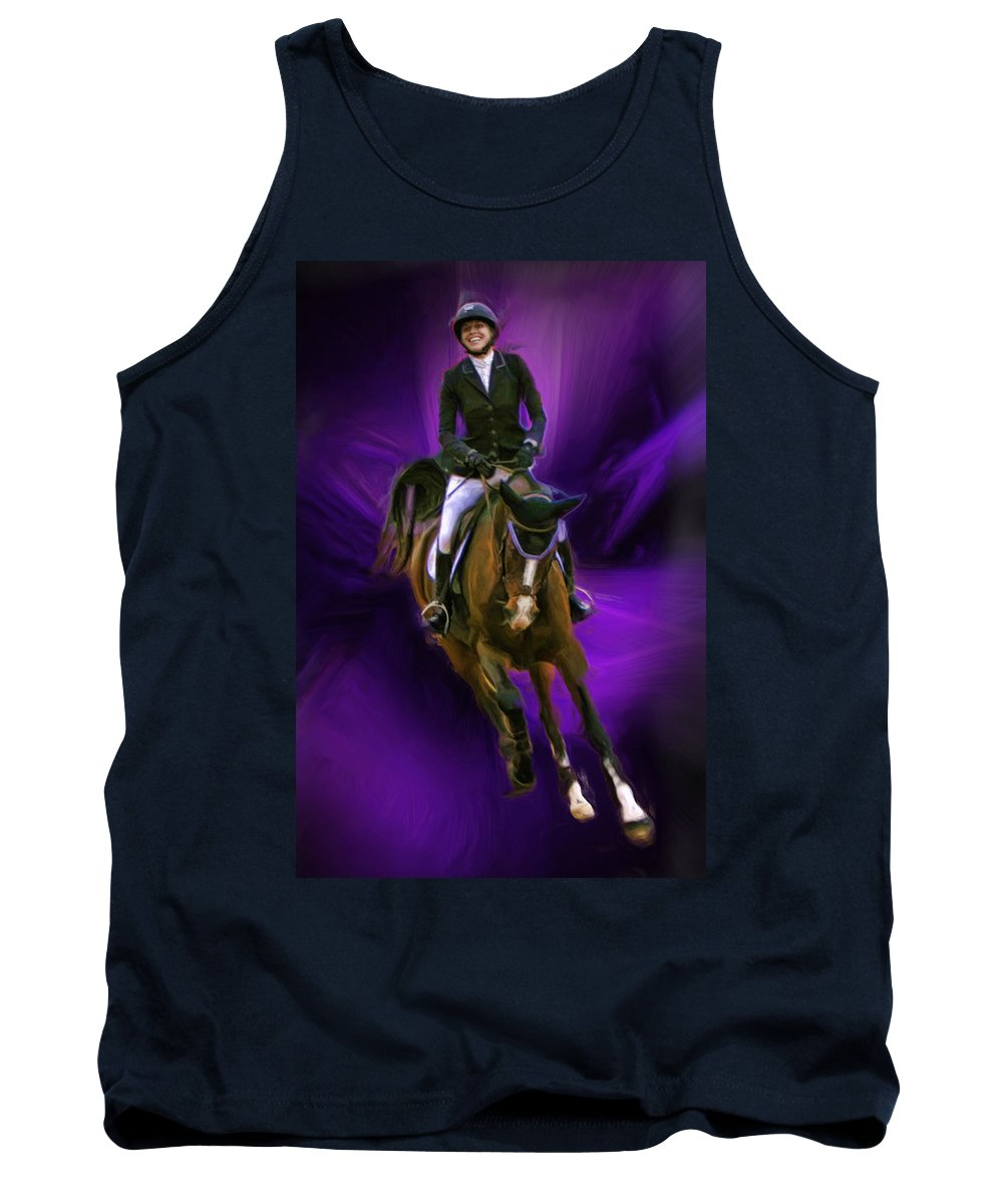 Blenheim Equisports Tank Top featuring the photograph Ann Knight Karrasch On Horse Coral Reef Aajee by Blake Richards