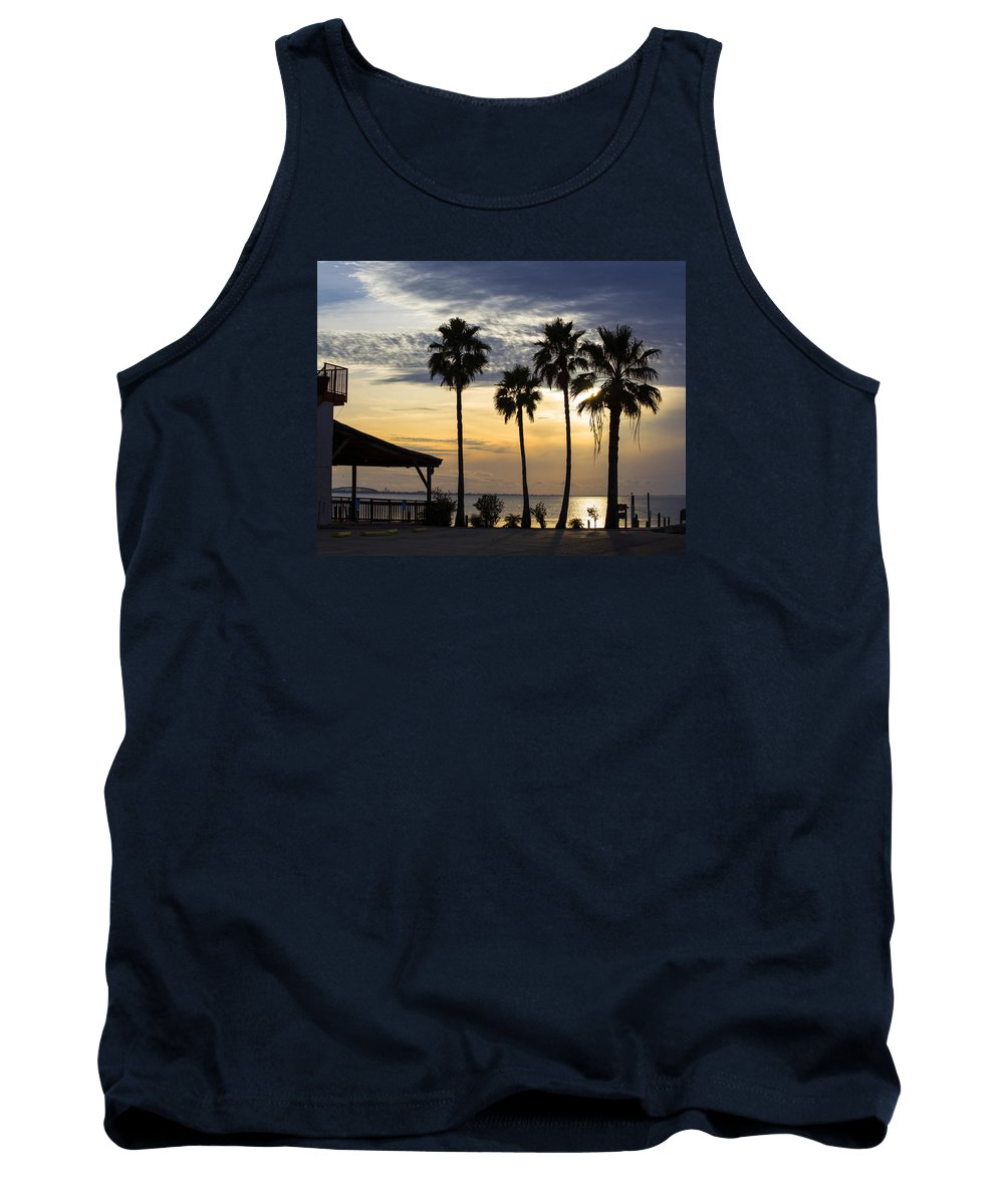 Sunset Tank Top featuring the photograph As The Sun Sets South Padre Island Texas by TN Fairey